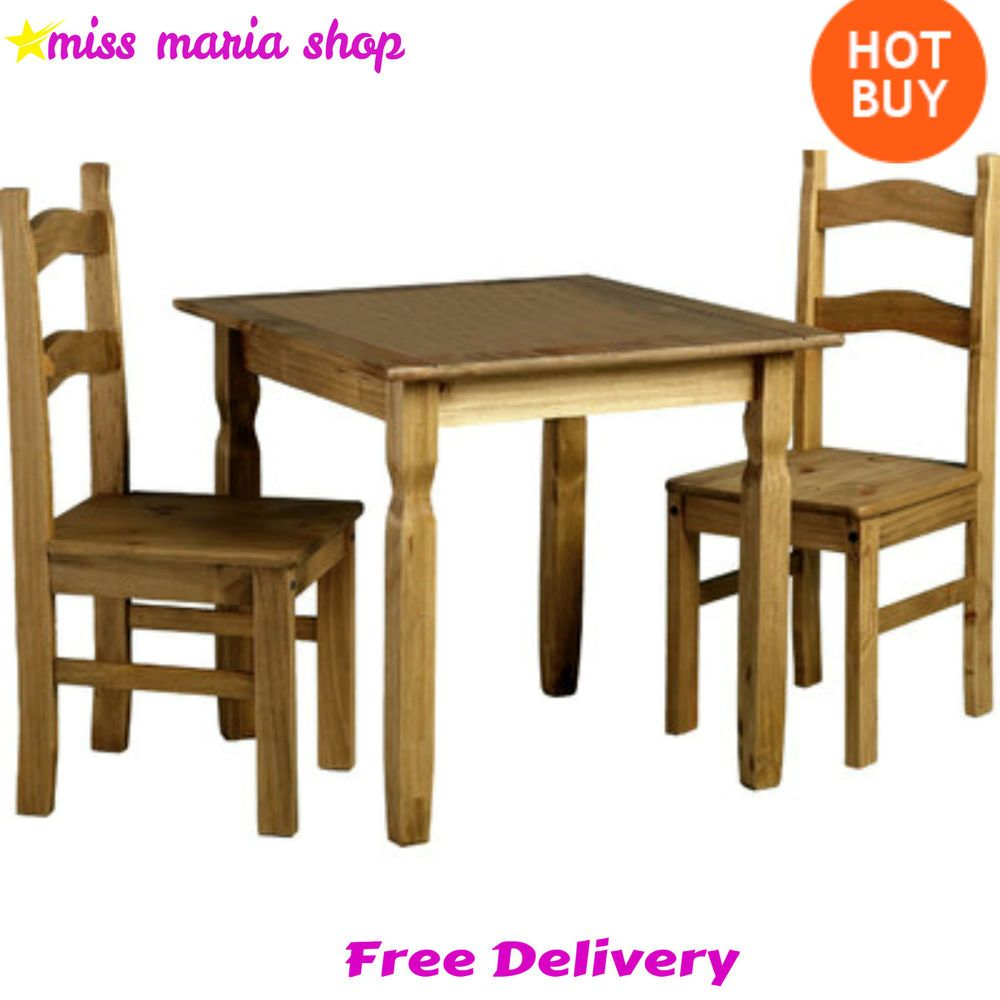 Table Chairs Solid Wood Pine Dining Set 3pc Rustic Style Small
