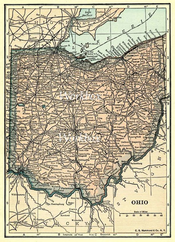 graphic regarding Printable Map of Ohio titled Typical map of Ohio and shore of Lake Erie. Printable