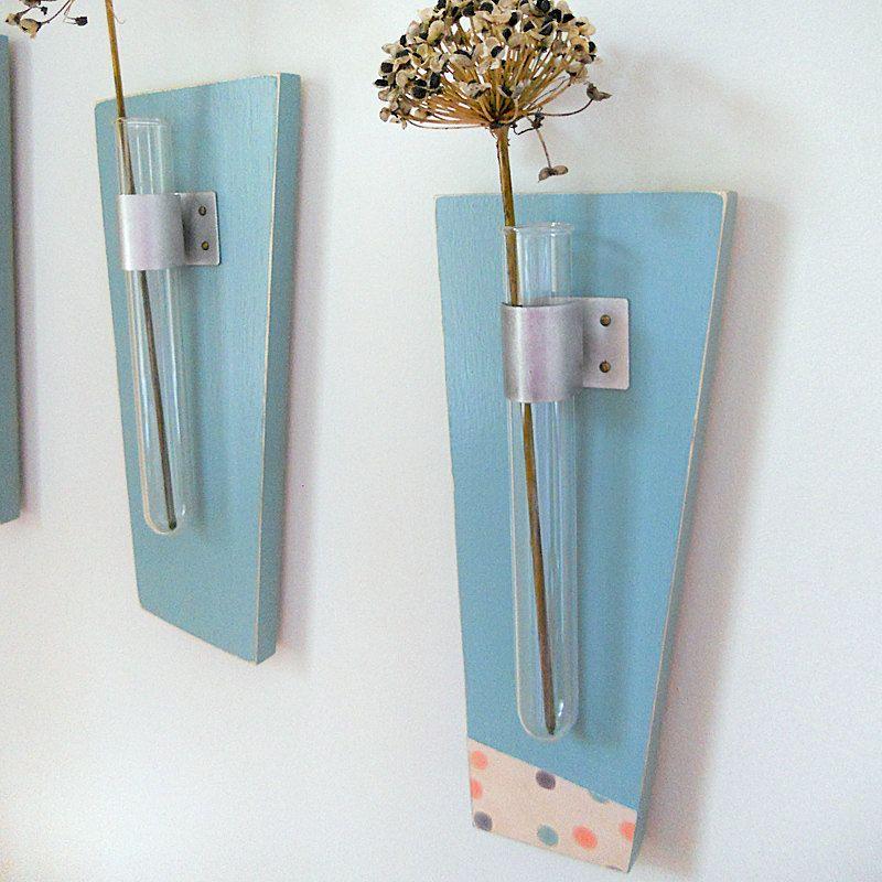 Flower Vase Test Tubes SKY: modern wood wall mount retro teal blue polka dots. $85.00, via Etsy.