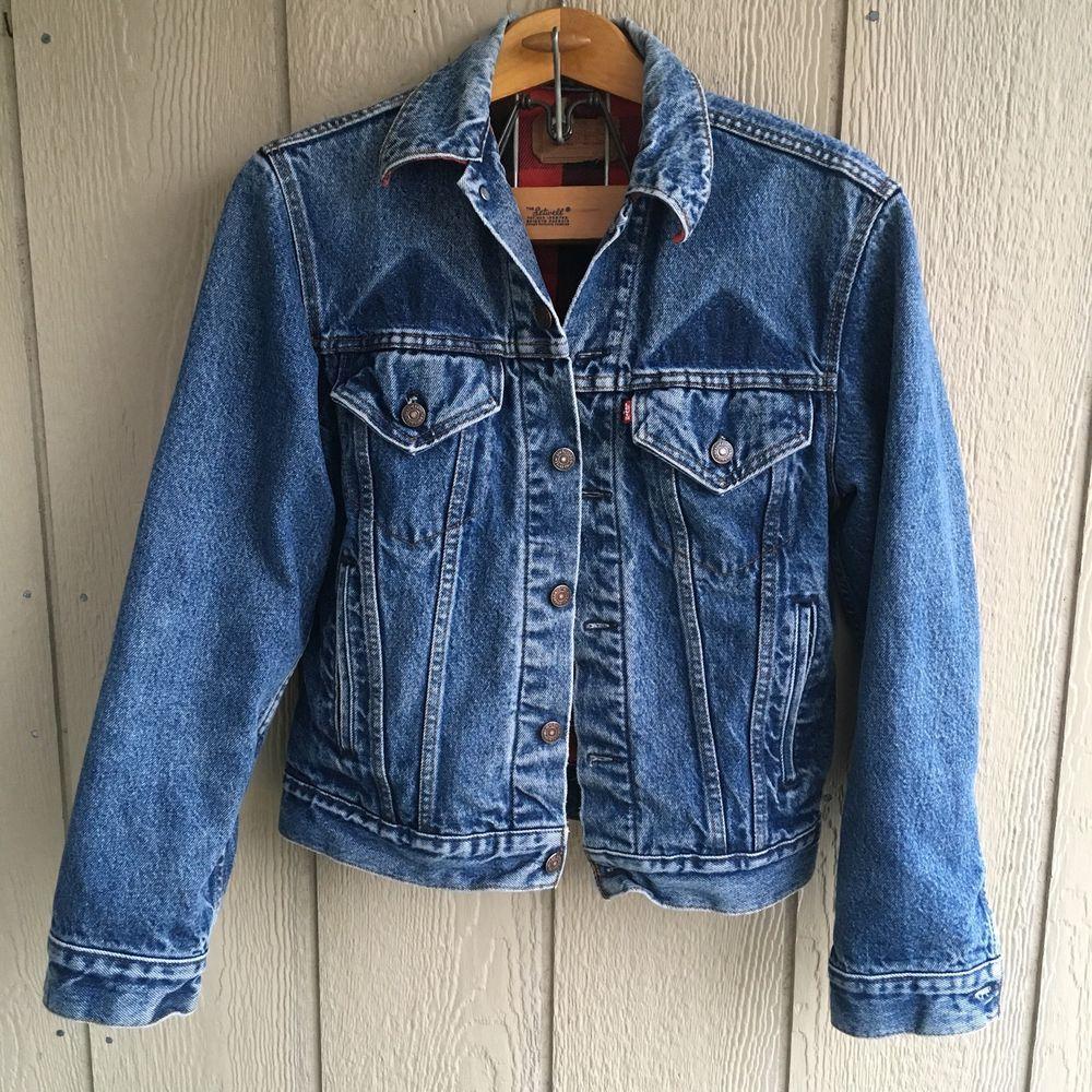 Levi S Mens Flannel Lined Denim Jean Jacket Trucker 70411 0816 Made In Usa Sz 36 Denim Jean Jacket Mens Flannel Denim