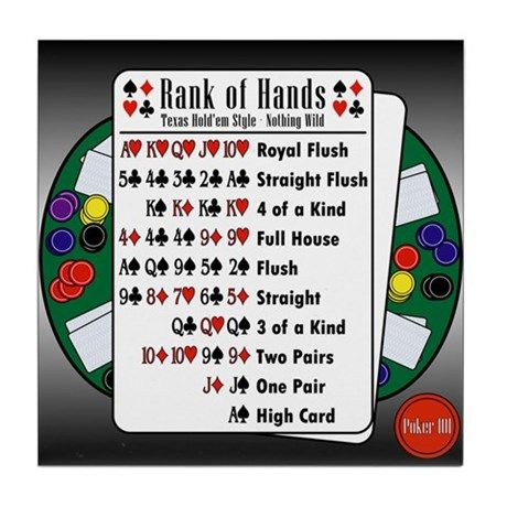 Poker 101 Texas Hold Em Rank Of Hands Tile Coaster By Express Yourself Cafepress Texas Holdem Family Games To Play Poker