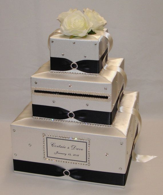 Ivory /Black Wedding Card Box-lots of by ExoticWeddingBoxes