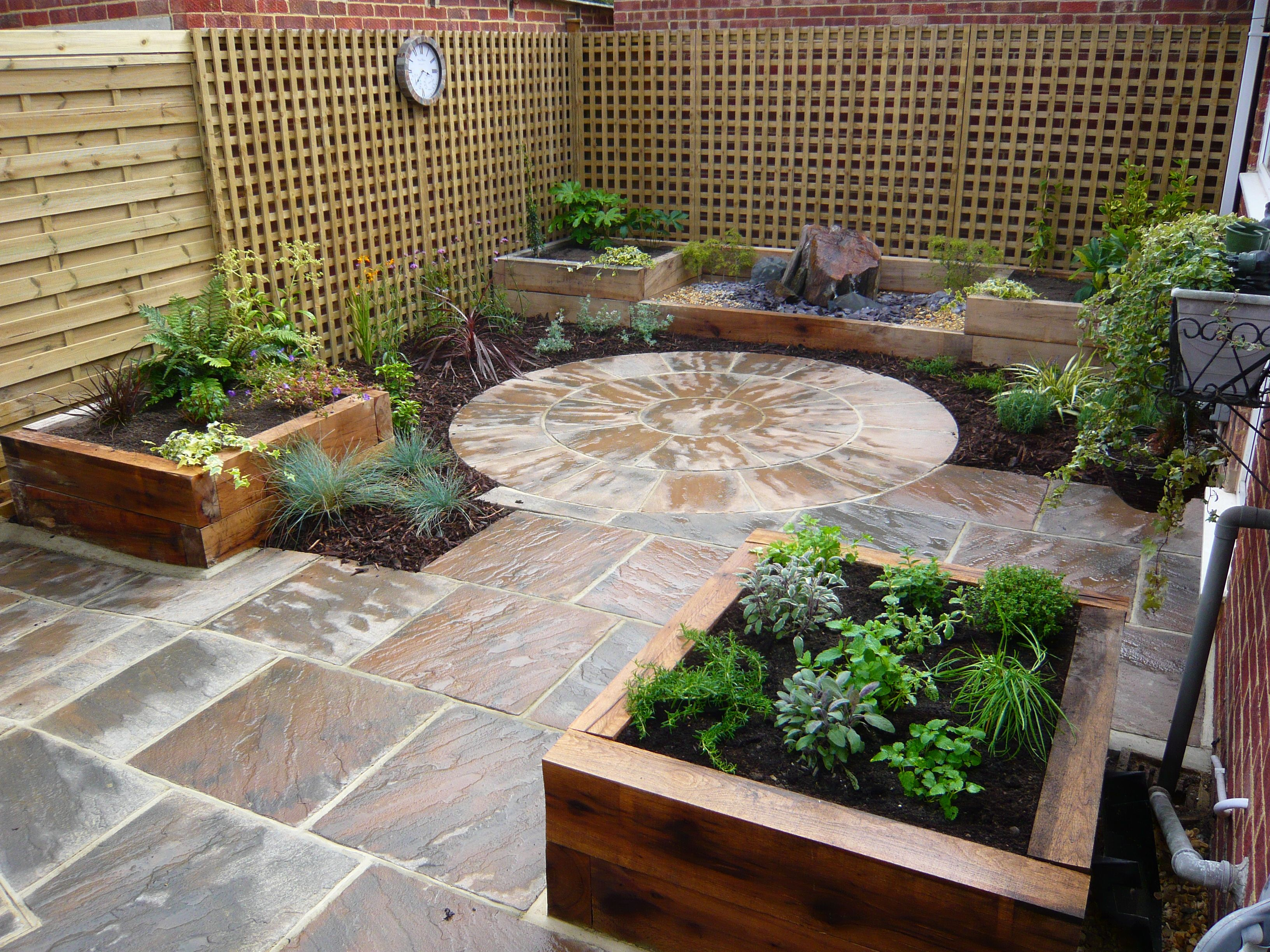 Courtyard garden low maintenance raised beds creating for Courtyard stone landscape