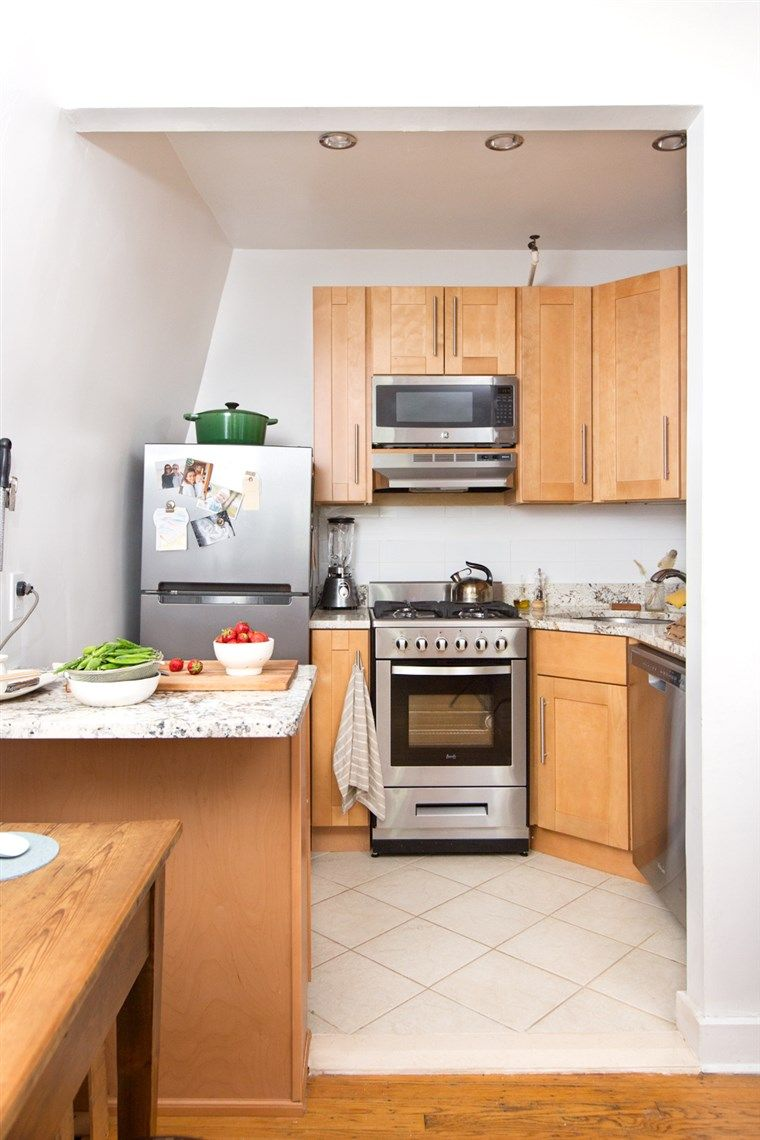 See How A Family Of 4 Lives In This 500 Square Foot Apartment Small Kitchen Layouts Small Space Kitchen Tiny House Living