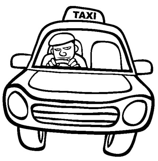 Taxi Driver Driving Car Coloring Pages Best Place To Color Cars Coloring Pages Coloring Pages Taxi Driver