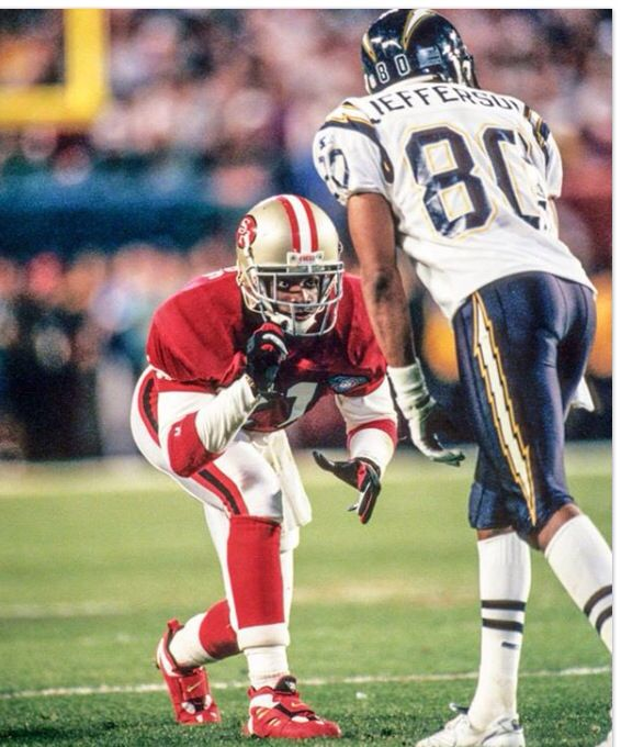 Deion Sanders Lines Up To Play Bump And Run Vs The Chargers In The Super Bowl Rebuildingmylife Football Helmets 49ers Players American Football Team