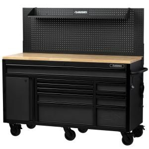 Husky Heavy Duty 61 In W Deep 10 Drawer 1 Door Tool Chest Mobile Workbench In Matte Black With Flip Up Pegboard H61mwc10pb The Home Depot Mobile Workbench Tool Chest Workbench