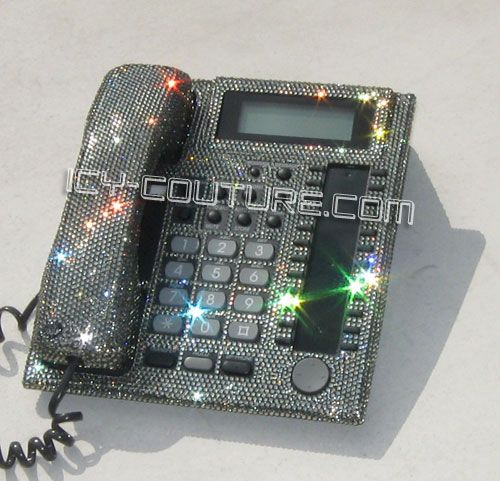 Bling Khloe Lamar Icy Couture Crystal Home Office Phone