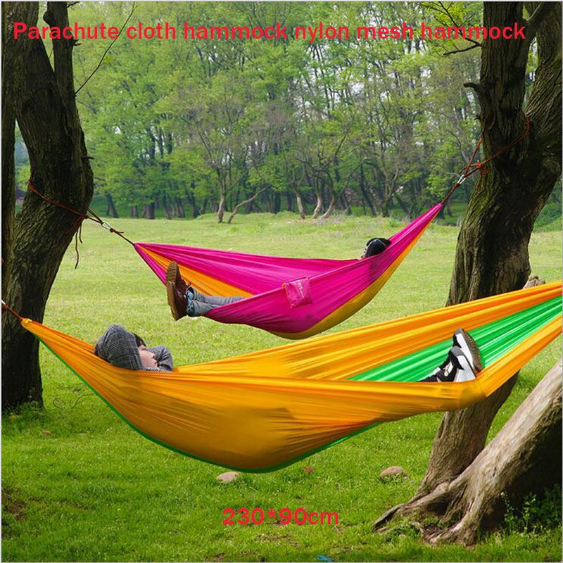Medium image of outdoor hammock wholesale parachute nylon mesh cloth hammock hammock a single outdoor camping leisure products