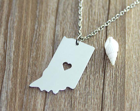 I heart indiana necklace indiana map pendant for me i heart indiana necklace indiana map pendant state necklace state charm map necklace map jewelry aloadofball Gallery