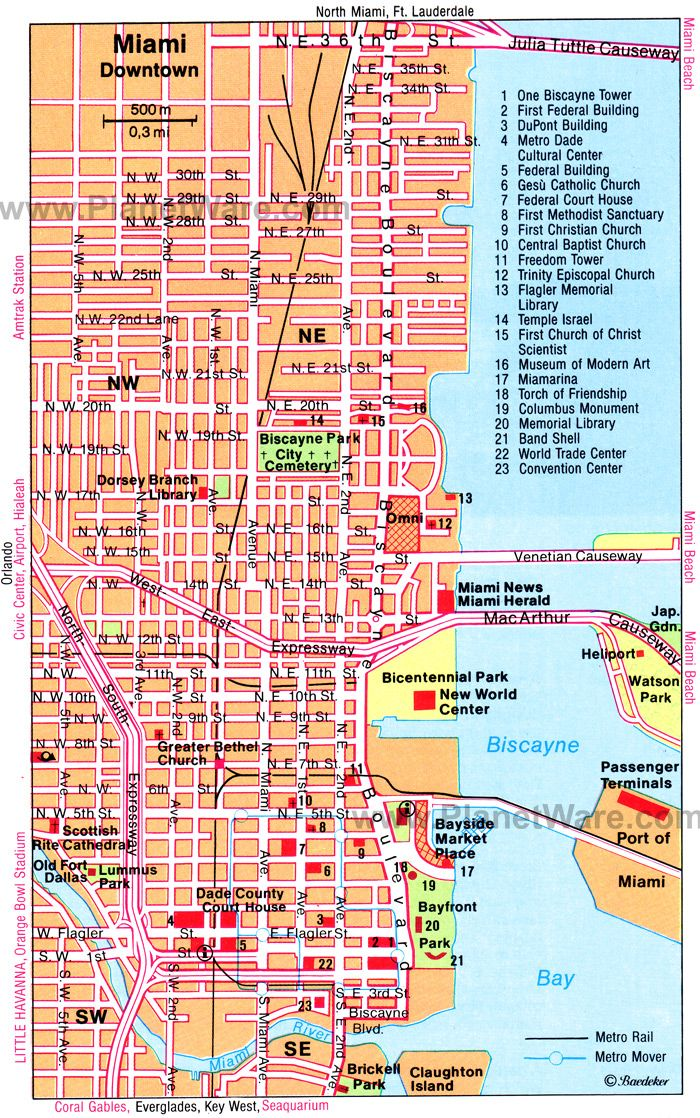 Miami Map Tourist Attractions South Beach Florida