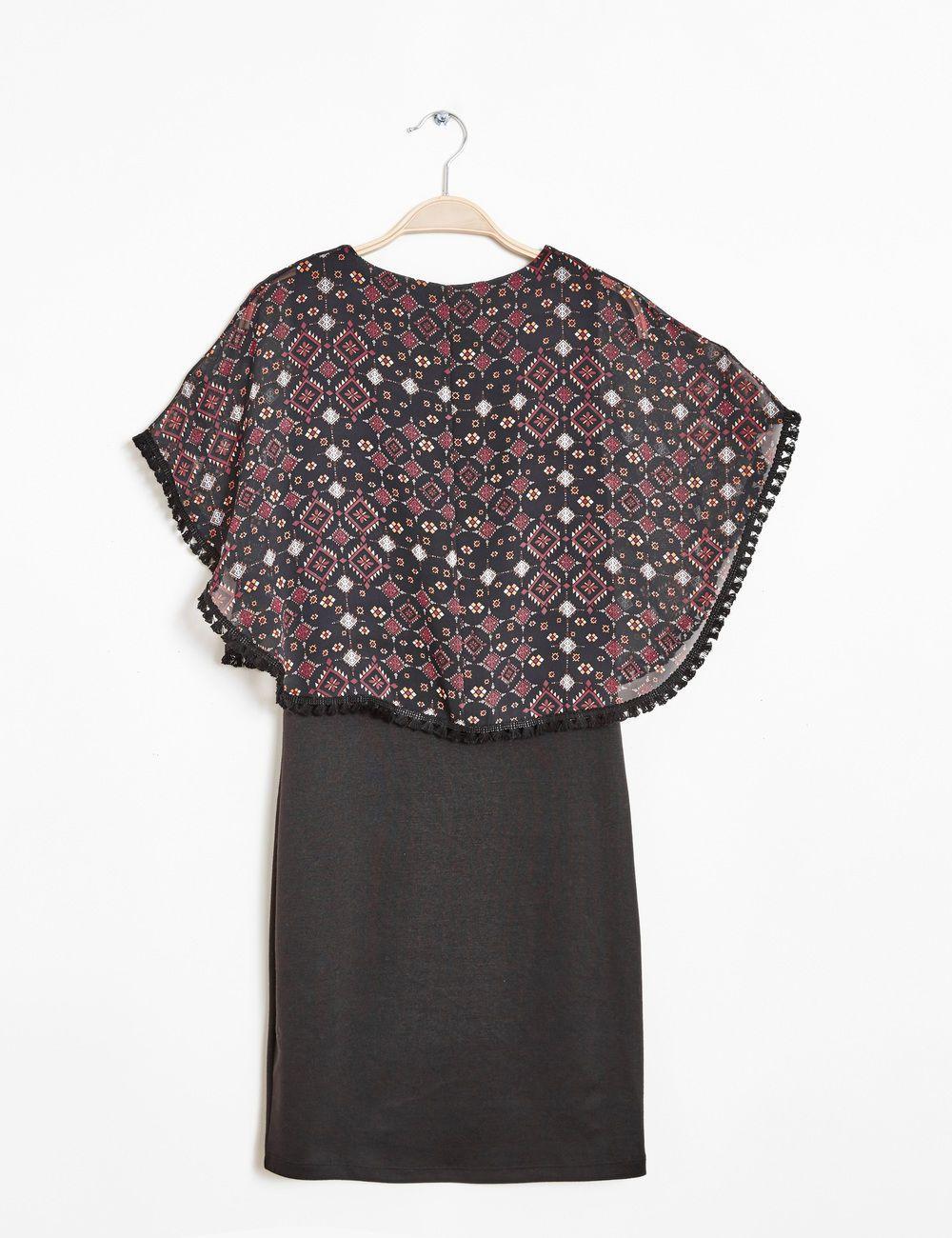 373ef49a42e71 Robe avec poncho superposé noir et bordeaux femme • Jennyfer   My ...