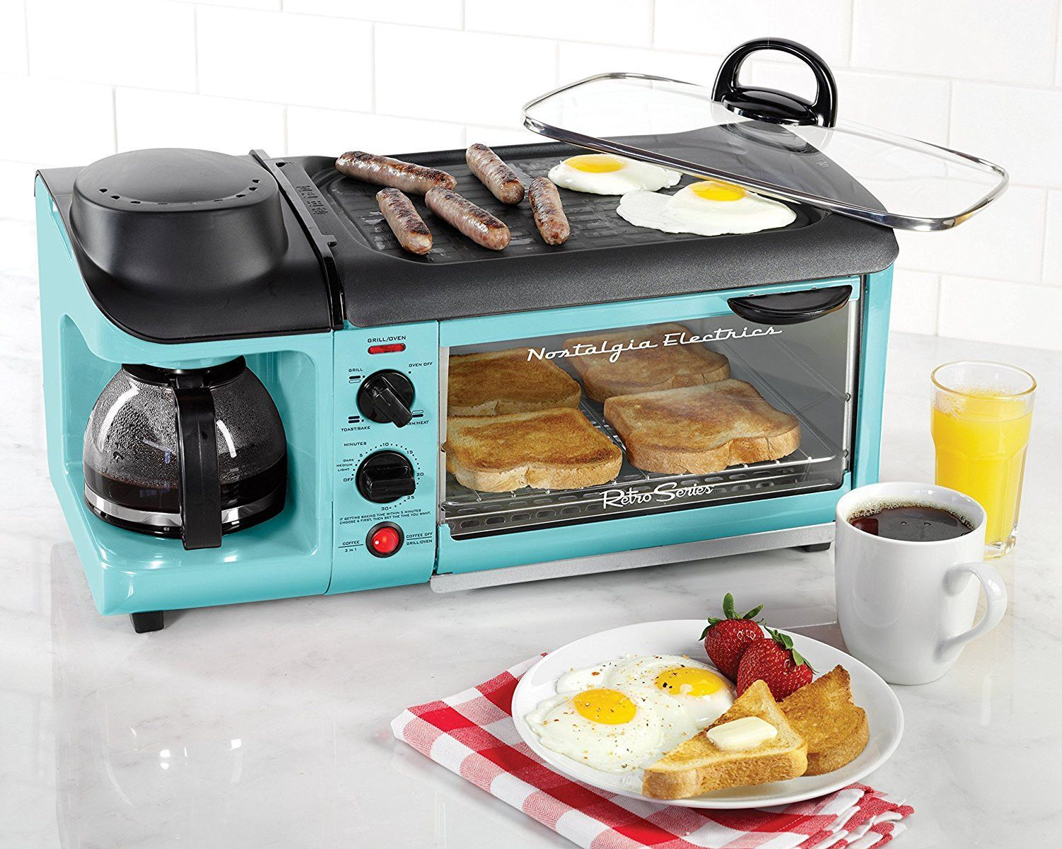 Retro Blue or Red Coffee Maker and Toaster Oven and NonStick Griddle ...