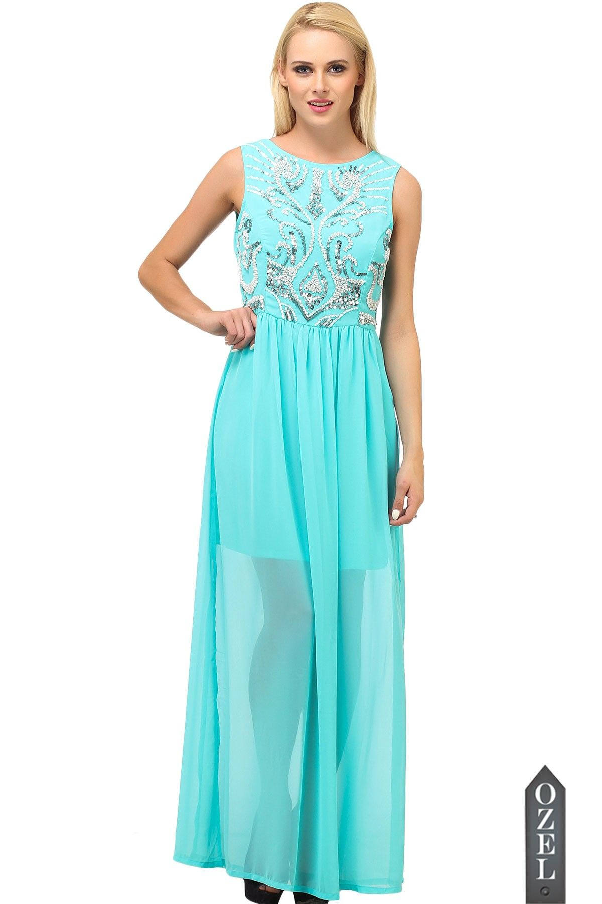 Sea Green Sequence Maxi Dress by Ozel Studio | OZEL Studio Couture ...