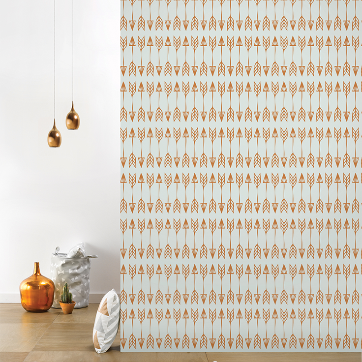 Roomblush behang wallpaper arrows copper grey behangpapier woonkamer ...