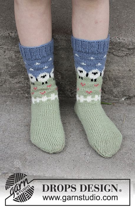 Socks with multi-coloured pattern in DROPS Flora. Sizes 24 - 34 ...