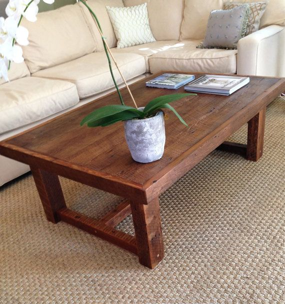 Large Rustic Pi Coffee Table Made From Reclaimed By