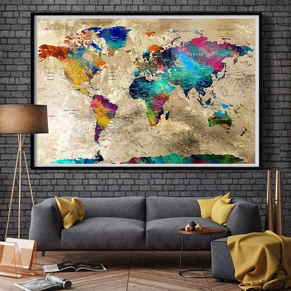 Room Wall Decor Living World Map
