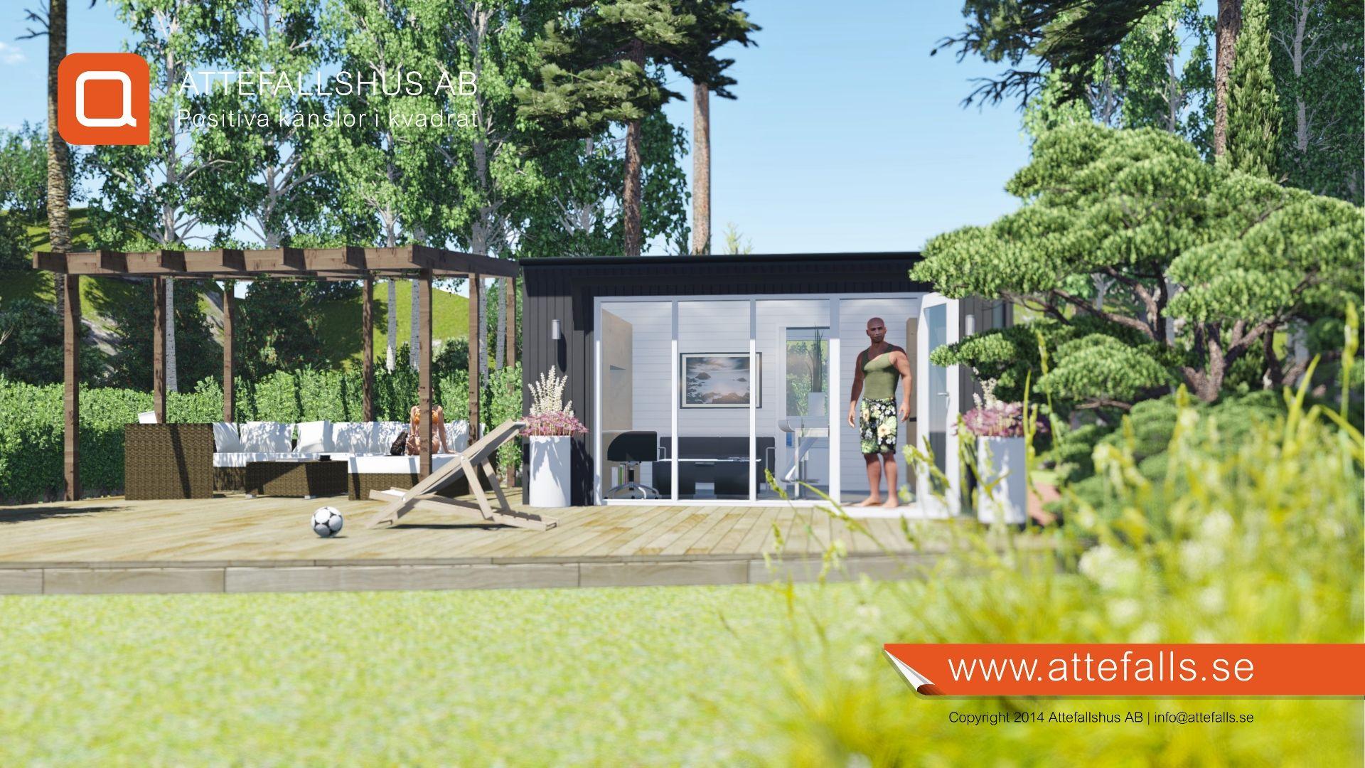 """Här visar vi en trevlig stämningsbild på vår """"25 kvadrat Glädje"""". Huset har det mesta för att skapa ett behagligt boende. Ytterligare information: www.attefalls.se Tags: #attefallshus #minivilla #sommarnöjen #enkelrum #bygglovsfritt #gäststuga #komplementbyggnad"""