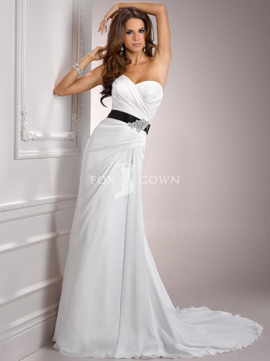 Lovely luxe chiffon aline wedding dress with detachable beaded belt