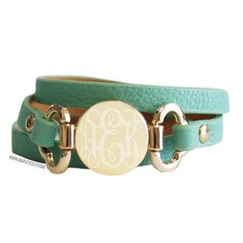 Monogrammed Mint Leather Wrap Bracelet Accessories Marley Lilly