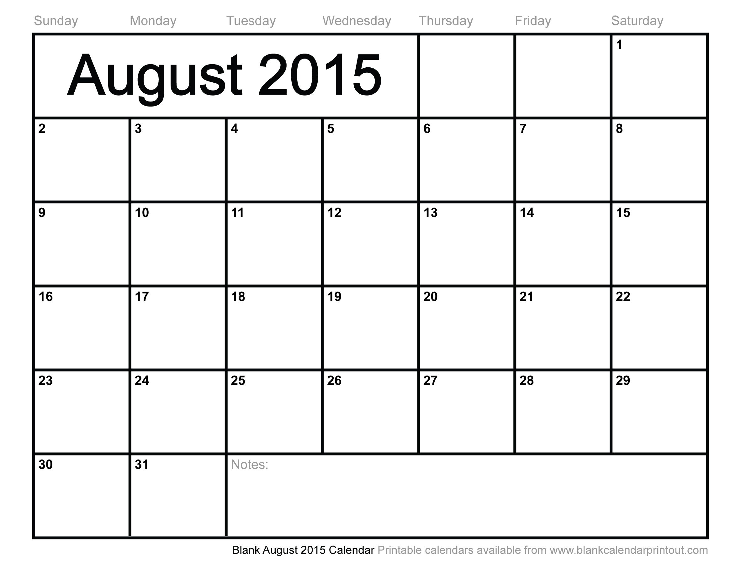 Blank August Calendar To Print Make It