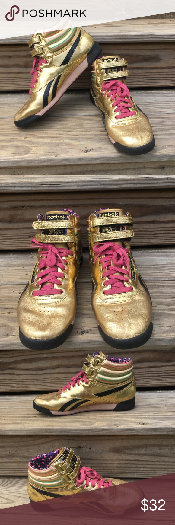 Reebok Classics Gold Metallic High Top