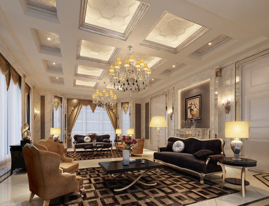 Luxury interior design super luxury villa living room for Drawing room design photos