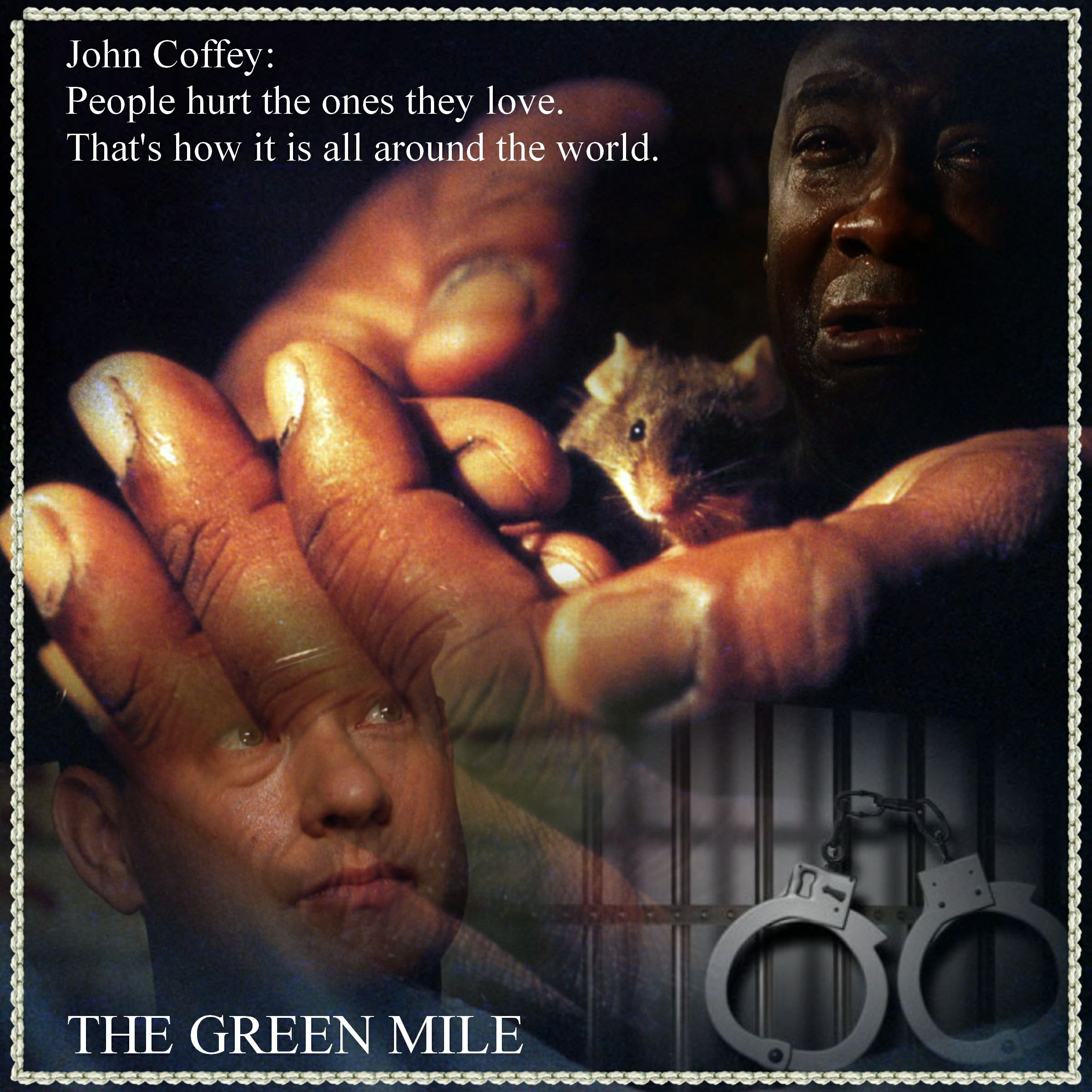 """the green mile film essay Read this full essay on main themes in the green mile one of the main  themes in """"the  path with the green mile the film was released by warner  bros."""