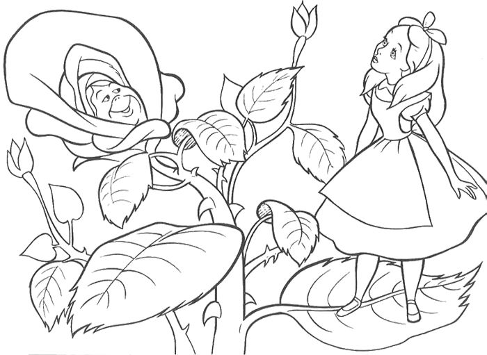 Alice In Wonderland Was Out In The Woods With Friends Coloring Page Alice In Wonderland Flowers Alice In Wonderland Drawings Cartoon Coloring Pages