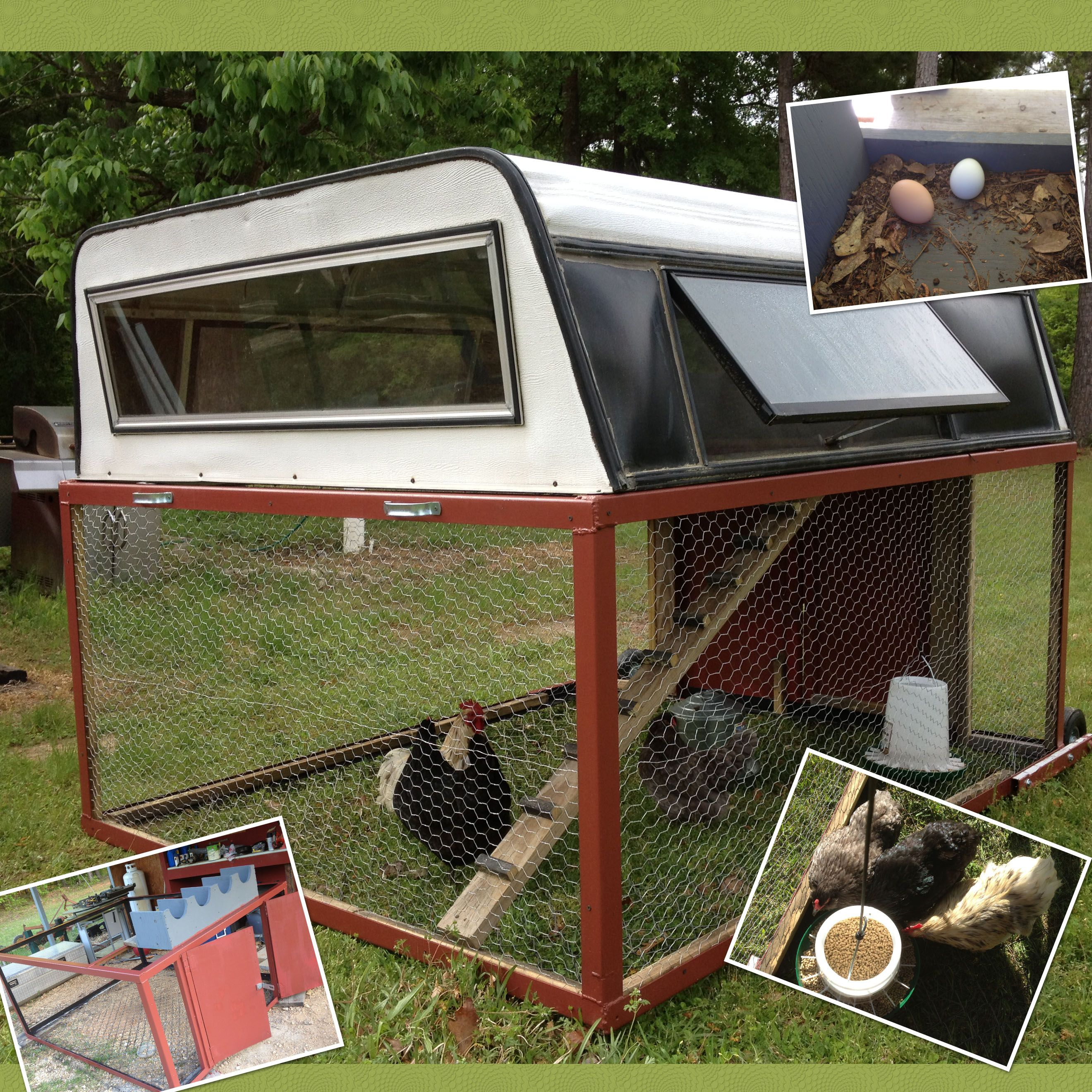 This is a chicken tractor from a old truck camper shell