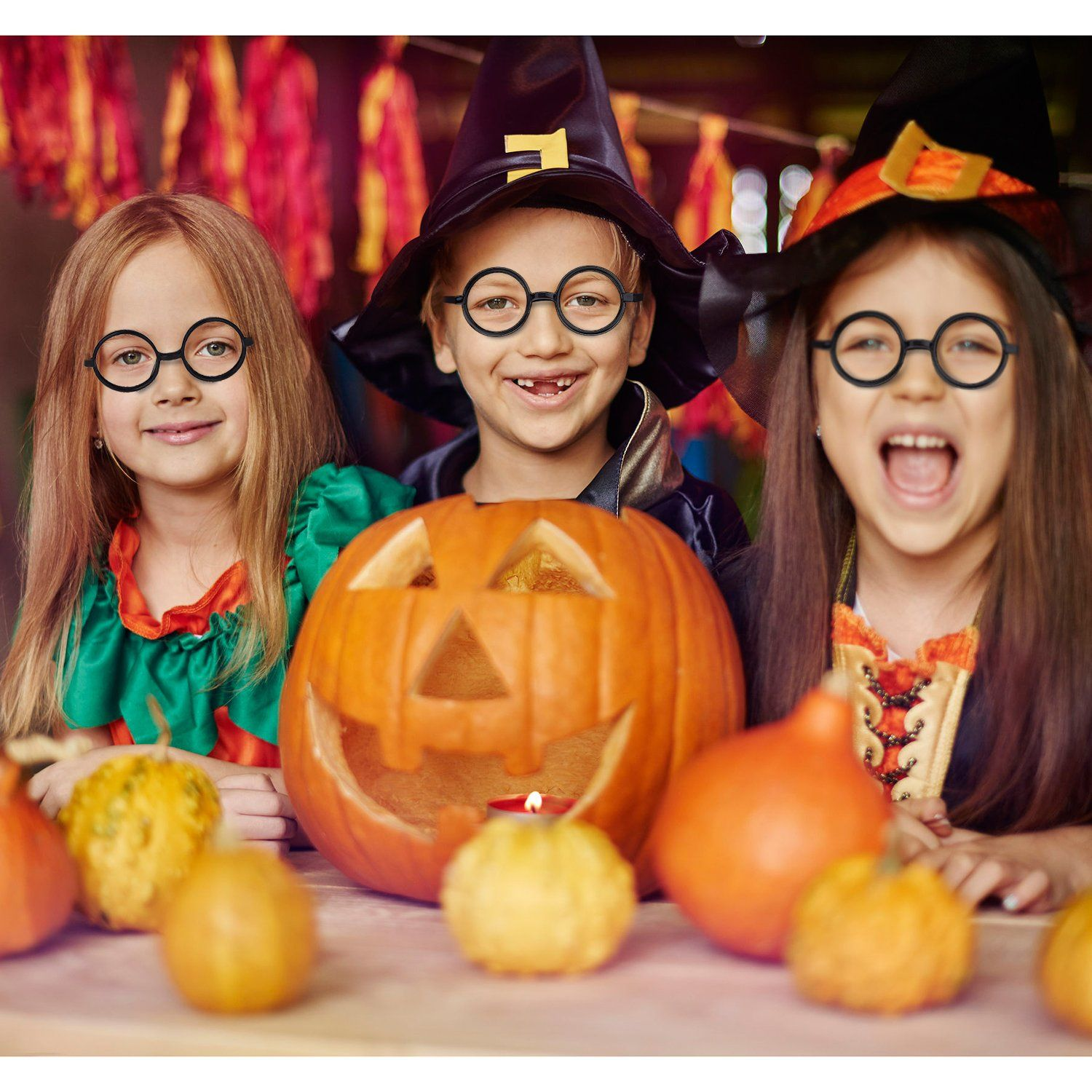 b69afd6270 Shappy 16 Pack Plastic Wizard Glasses Round Glasses Frame No Lenses for Halloween  Costume Party Supplies Black -- Want additional info  Click on the image.