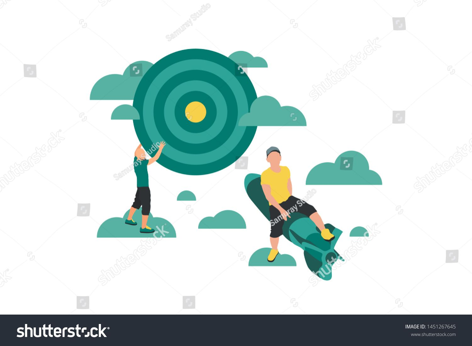 Business concept flat vector illustration with man on rocket fly to darts board target in clouds sky Goal achievement Success business idea Move up motivation banner desi...