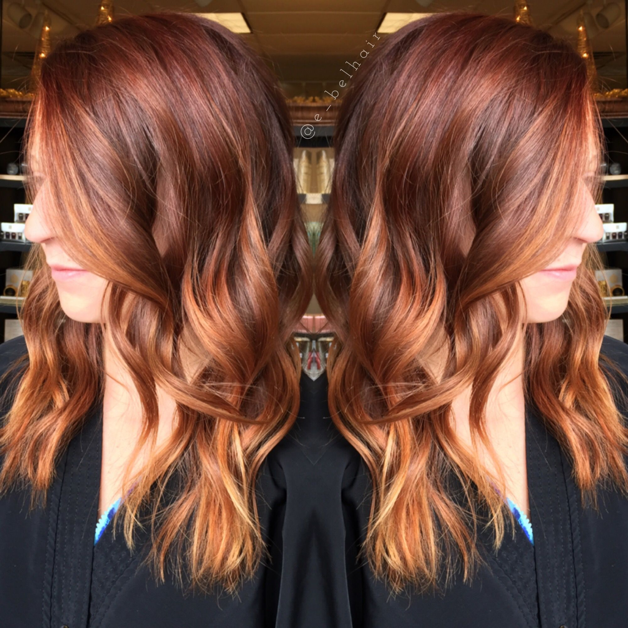 Red hair Copper toned balayage