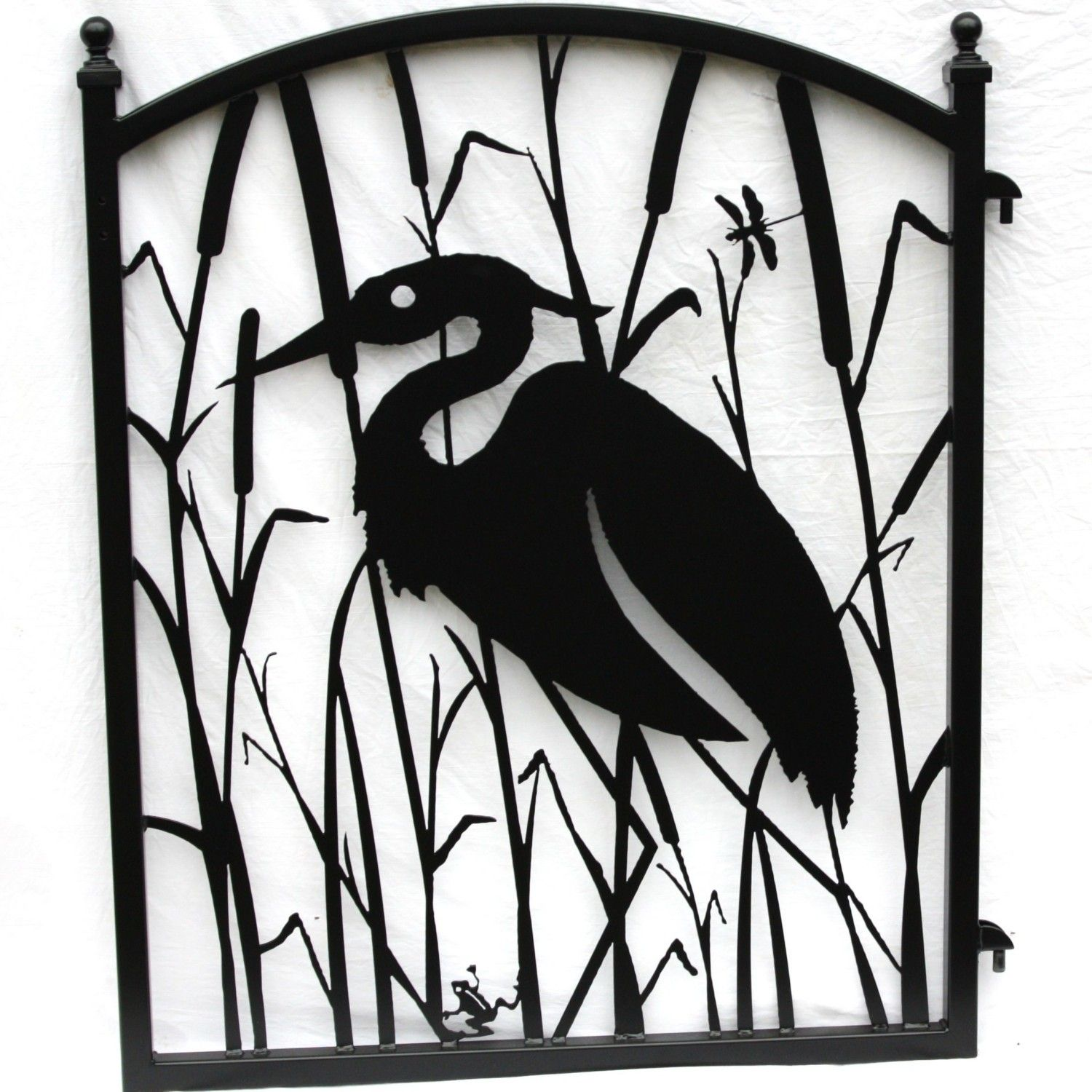 Heron in the Reeds Metal Art Iron Garden Gate 29900 via Etsy