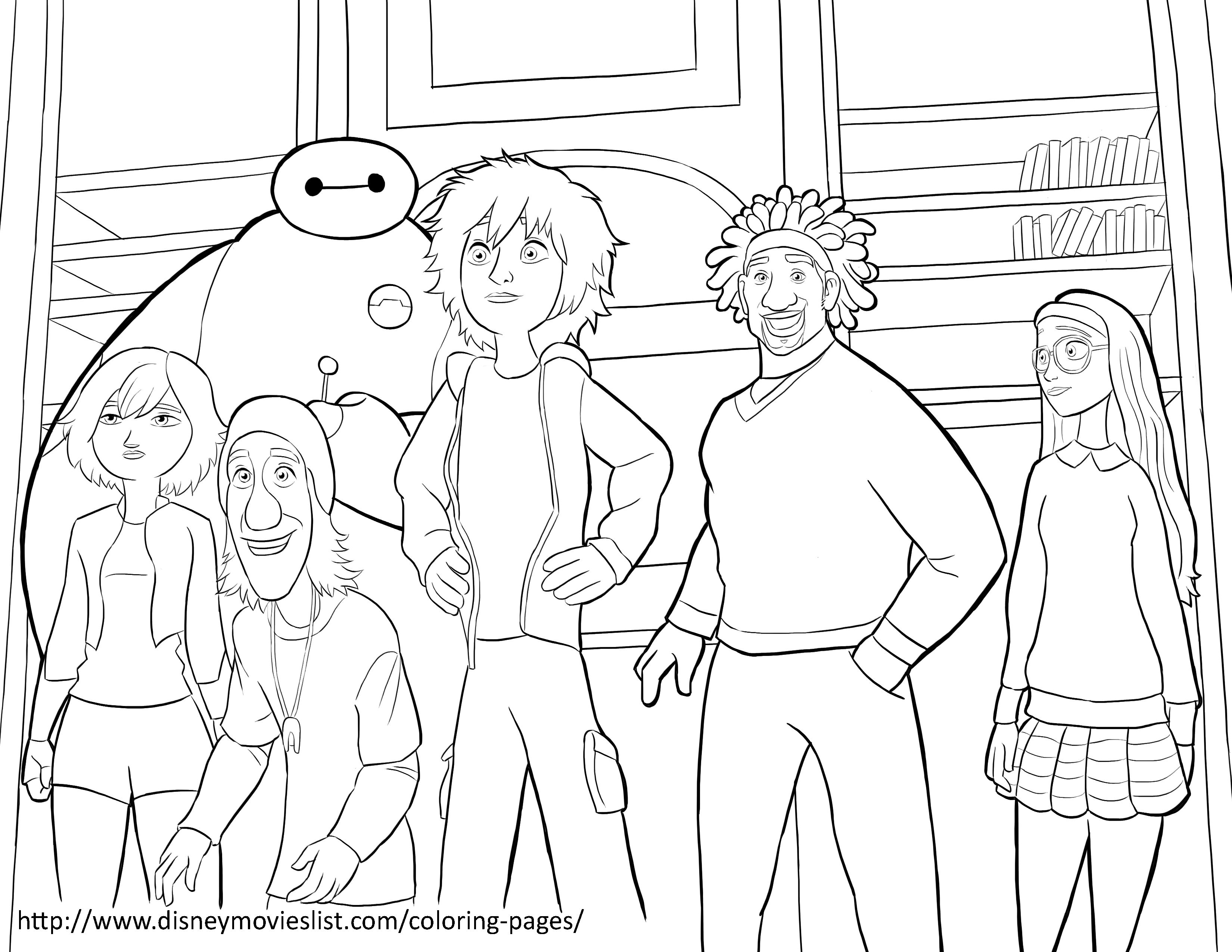 Big Hero 6 Team Coloring Page Sheet Printable Coloring Pages Big Hero Big Hero 6