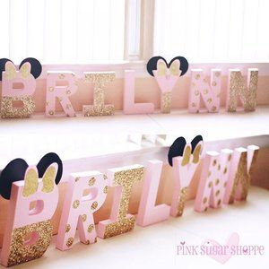 ANY SINGLE NAME PERSONALISED MINNIE MOUSE STYLE  PARTY BANNER PINK AND GOLD