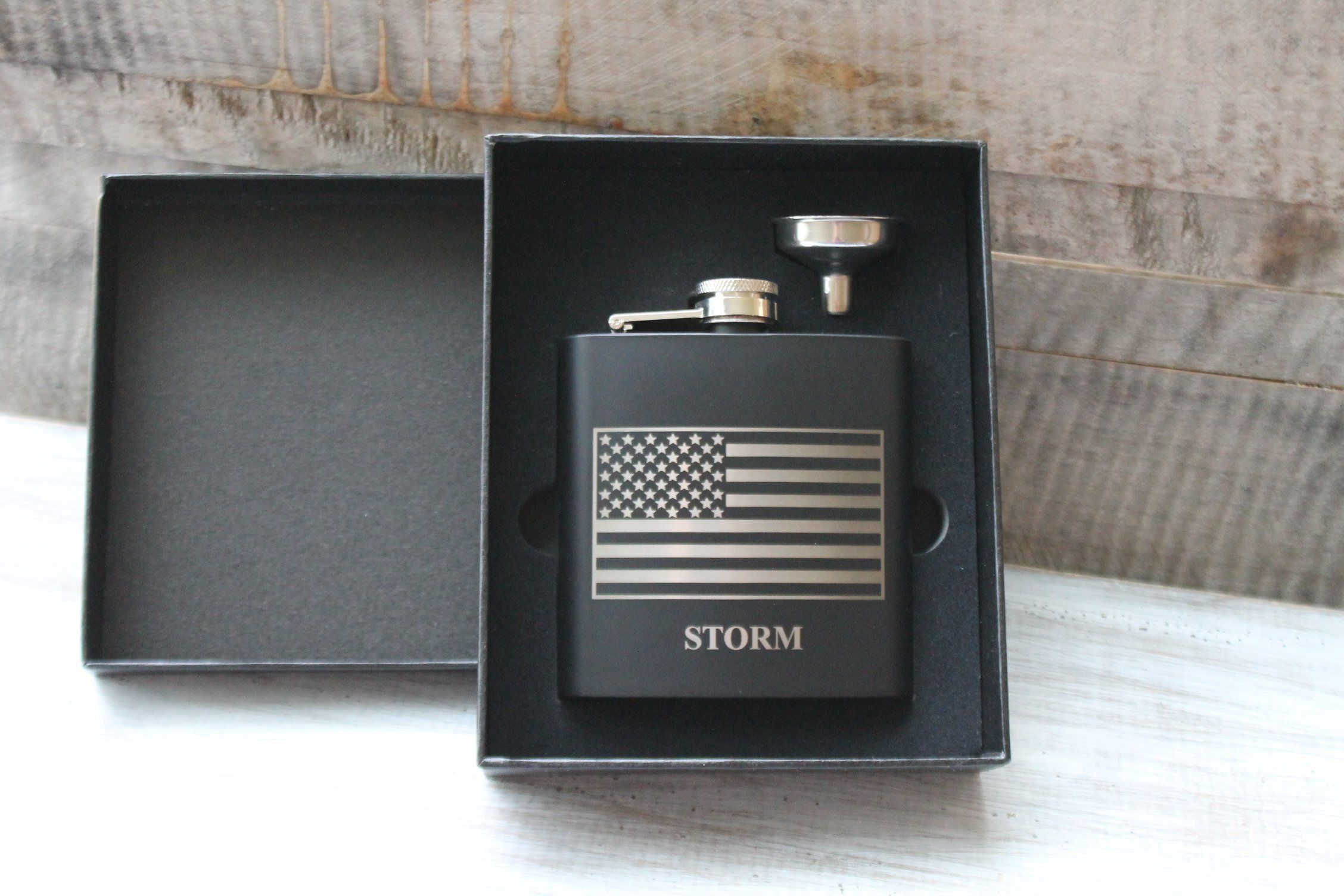 Personalized Matte Black Stainless Steel American Flag Laser Engraved Flask Set-6 Ounce Flask-Groomsman Gift