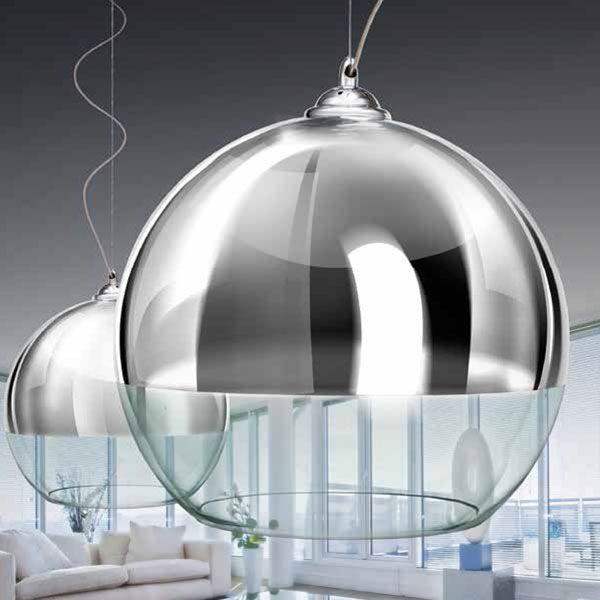 Azzardo silver ball 40 chrome and glass pendant light globe azzardo silver ball 40 chrome and glass pendant light globe pendant aloadofball Choice Image