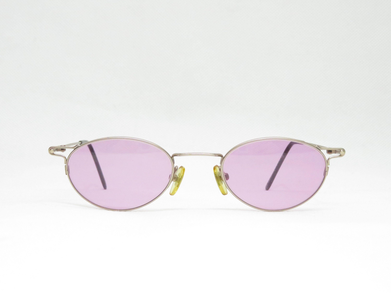 Kleine Ovale Vintage Sonnenbrille Mit Rosa Getonten Glasern