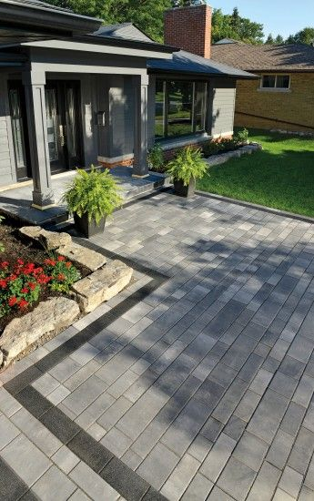 Front Entrance With Artline Paver From Unilock Photos Patio Pavers Design Front Yard Landscaping Design Front Landscaping