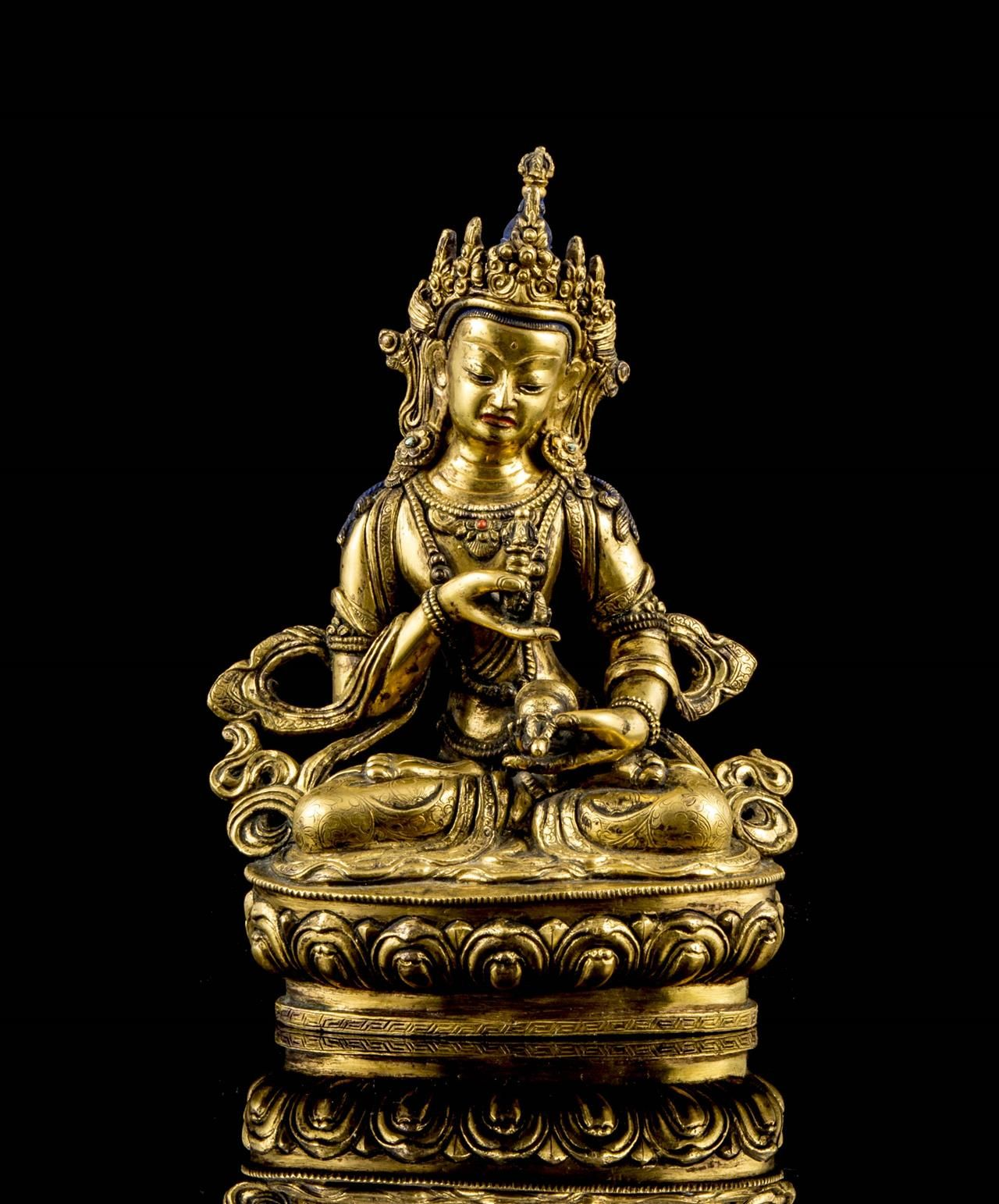 A Gilt Bronze Figure Of Vajrasattra 17th 18th Century Seated In