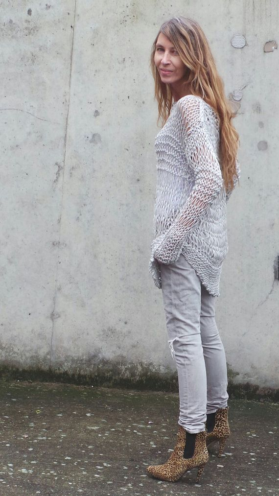 silver sweater silver grunge sweater loose knit Cotton Sweater in silver with an asymmetrical hemline