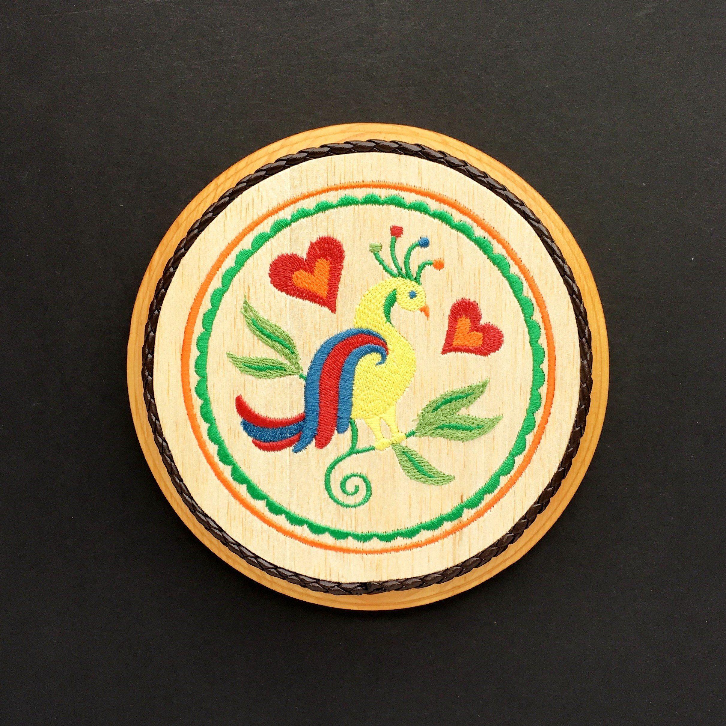 Distelfink pennsylvania dutch indoor hex sign embroidery art on