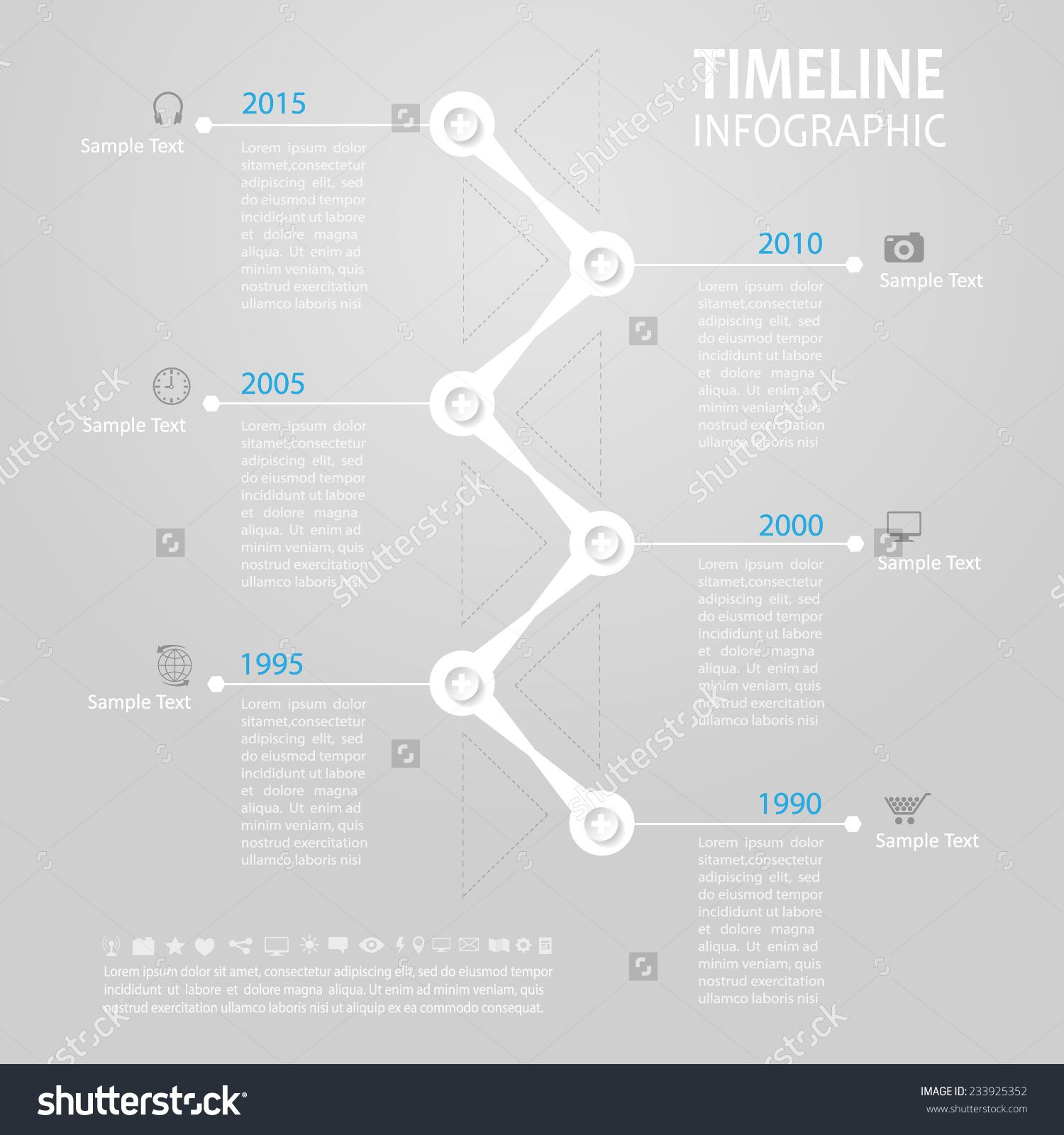 Timeline Infographic. With Set Of Icons. Vector Design Template ...