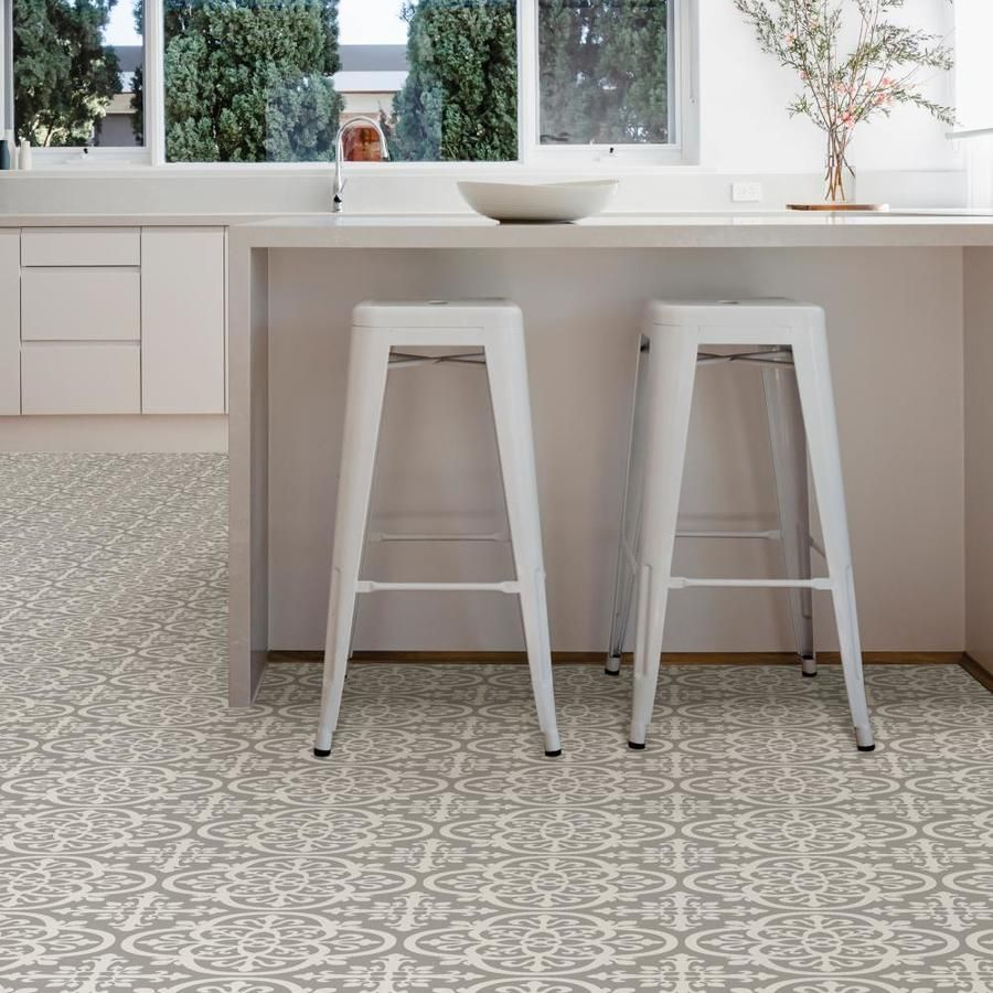 Floorpops 20 Piece 12 In X 12 In Grey Peel And Stick Vinyl Tile Lowes Com Kitchen Flooring Trends Peel And Stick Floor Self Adhesive Floor Tiles