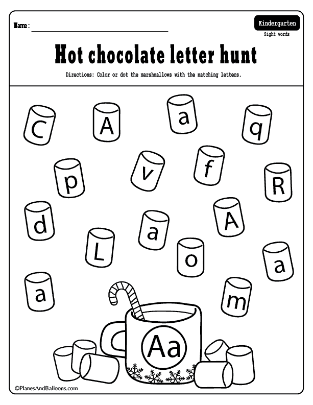 Winter letter matching worksheets for each letter of the