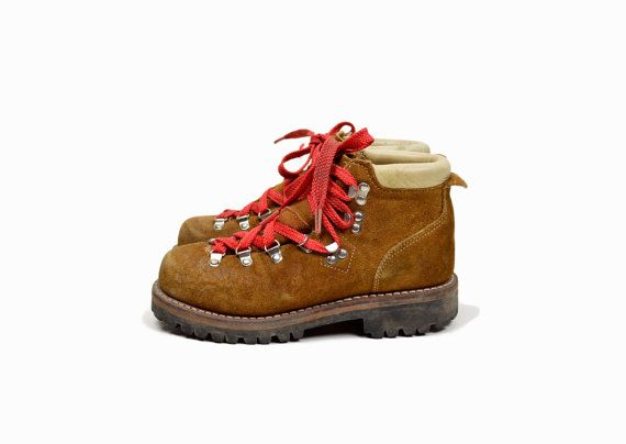 Vintage Brown Leather Hiking Boots with Red Laces - women's 6.5/7