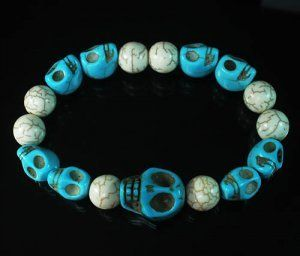 Wholesale 12pcs Turquoise Colorful Baby Blue Skull White Veins Beads Stretch Bracelet ZZ2169 by igminuscn.storenvy.com, $25