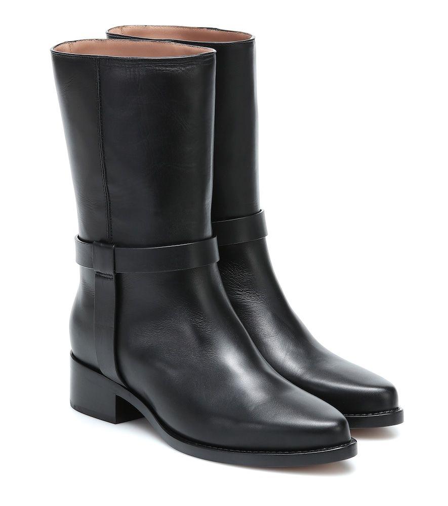 Legres Leather Ankle Boots In Black Modesens Lederschuhe Damen Schwarze Stiefeletten Moon Boots
